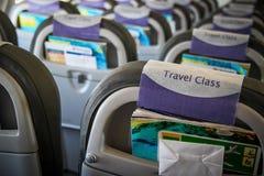 在飞机里面的内部没有乘客 免版税图库摄影