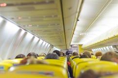 在飞机里面的内部 免版税库存照片