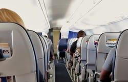 在飞行中乘客 免版税库存图片