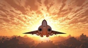 在飞行中军用喷气机 库存图片