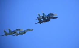 在飞行中四架战斗机 免版税图库摄影