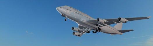 在飞行中现代乘客飞机全景 库存照片