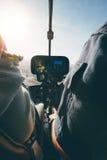 在飞行中直升机的里面看法 免版税库存照片