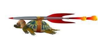 在飞行中水龟 免版税库存照片