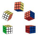 在飞行中Rubik ` s立方体 库存照片