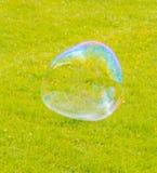 在飞行大肥皂泡的公园 免版税库存照片