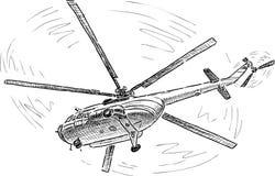 在飞行的直升机 免版税库存照片
