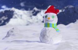 在飞雪的雪人 库存图片