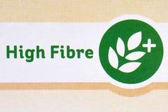 在食品包装的高纤维标志 图库摄影