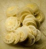 在食品成分里面的香蕉 库存图片