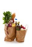 在食品杂货袋的产品 免版税图库摄影
