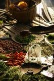 在食物市场上的物品在Inle湖,缅甸,亚洲 免版税库存图片