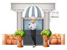 在餐馆前面的一位厨师 免版税库存图片
