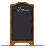 在餐馆或咖啡馆之外的菜单板 库存图片