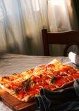 在饭桌上的杏子土气饼 库存照片