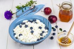 在饮食食物的乳制品 酸奶干酪用新鲜的莓果和蜂蜜 免版税库存照片