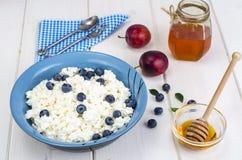 在饮食食物的乳制品 酸奶干酪用新鲜的莓果和蜂蜜 库存照片