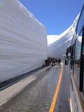 在馆山山,日本的雪墙壁 免版税库存照片