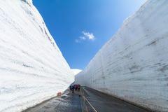 在馆山Kurobe高山路线雪墙壁或日本之间的路 库存图片