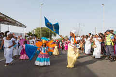 在首都在佛得角,普腊亚的每年狂欢节。 免版税库存照片