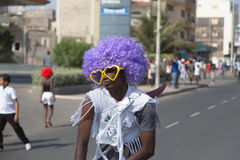 在首都的每年狂欢节在佛得角,   免版税库存图片