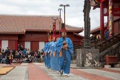 在首里城堡的新年庆祝在冲绳岛,日本 免版税库存图片