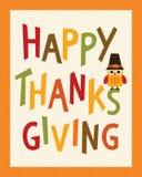 在香客帽子的愉快的感恩卡片画象框架猫头鹰 库存例证