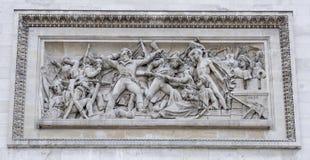 在香榭丽舍大街的凯旋门 浅浮雕,象征它 库存图片