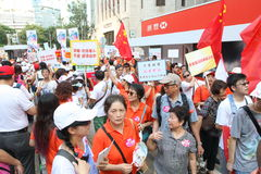在香港反占领运动集会 库存照片
