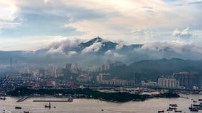 在香港和港口以后雨  免版税库存照片
