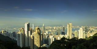 在香港地平线的日落 免版税库存照片