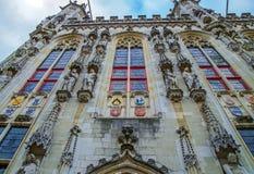 在香港大会堂的门面细节在布鲁日,比利时 免版税库存照片