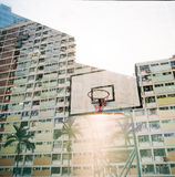 在香港居住区的两次曝光 库存照片