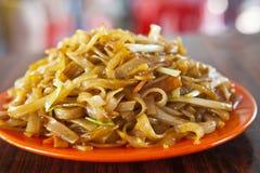 在香港样式的油煎的面条 库存照片