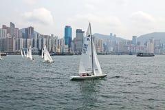 在香港港口的赛船会  免版税图库摄影