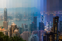 在香港的黄昏 镶边拼贴画 免版税库存照片