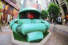 在香港gundam展示的绿色Zaku 免版税库存图片