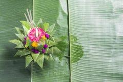 在香蕉叶子的Krathong每年传统每年11月 库存照片