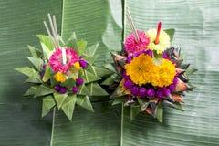 在香蕉叶子的Krathong每年传统每年11月 免版税库存照片