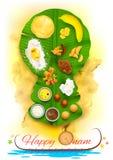 在香蕉叶子的Onam宴餐 库存例证