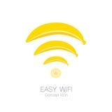 在香蕉形状,简单的技术概念, 10的容易的wifi概念象被说明的eps 免版税库存图片