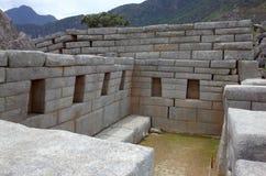 在马丘比丘的一个寺庙里面 免版税库存照片
