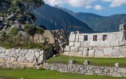 在马丘比丘的三Windows寺庙 免版税图库摄影