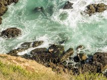 在马利布、绿宝石和大海的封印在峭壁围拢的相当天堂海滩 Dume小海湾,马利布,加利福尼亚,加州 库存图片
