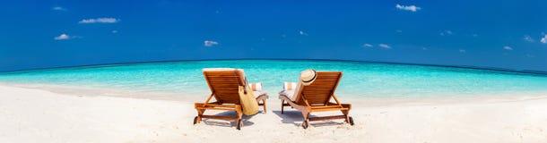 在马尔代夫的美丽的热带海滩 免版税库存图片