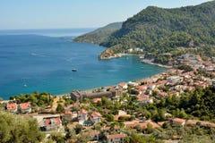 在马尔马里斯港,土耳其的Turunc郊区的看法 库存图片