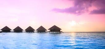 在马尔代夫海岛上的日落, 免版税库存图片