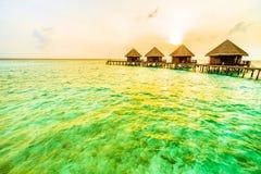 在马尔代夫海岛的日落 免版税库存照片