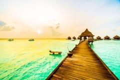 在马尔代夫海岛的日落 库存图片