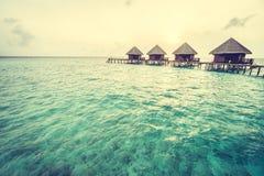 在马尔代夫海岛的日落 图库摄影